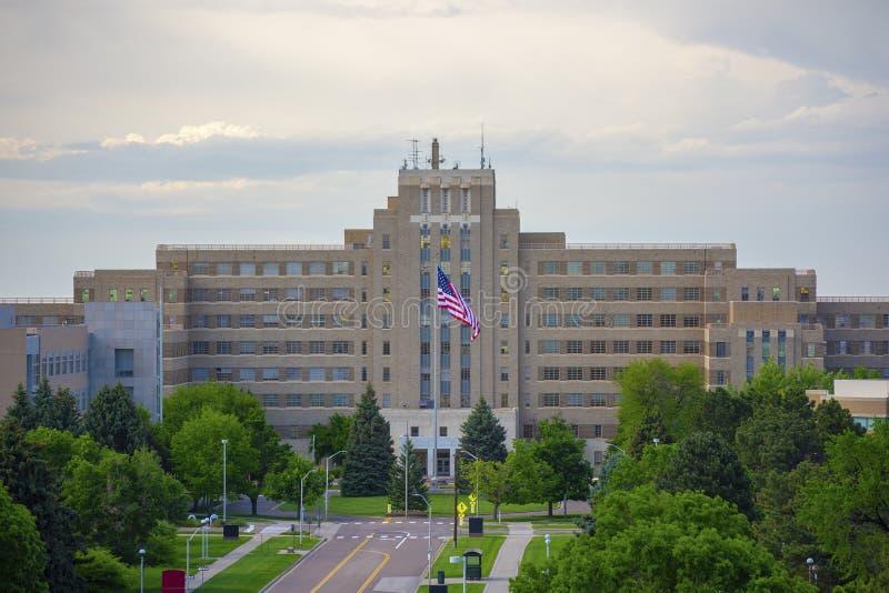 Fitzsimons che costruisce sull'università di città universitaria medica di colorado Anschutz immagine stock