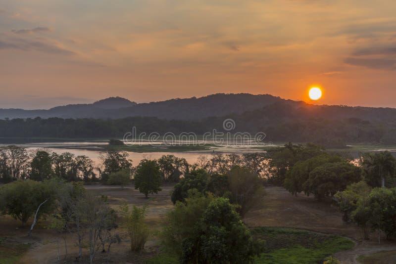 Fiume ad alba - Panama di Chagres fotografia stock