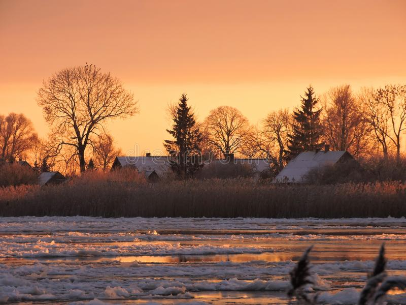 Fiume Atmata, case ed alberi nevosi nei colori di tramonto, Lituania fotografia stock