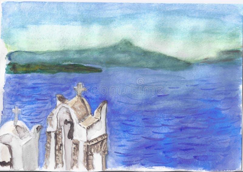 Fiume blu irreale della montagna illustrazione vettoriale