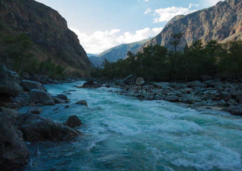 Fiume Chulyshman della montagna fotografie stock libere da diritti