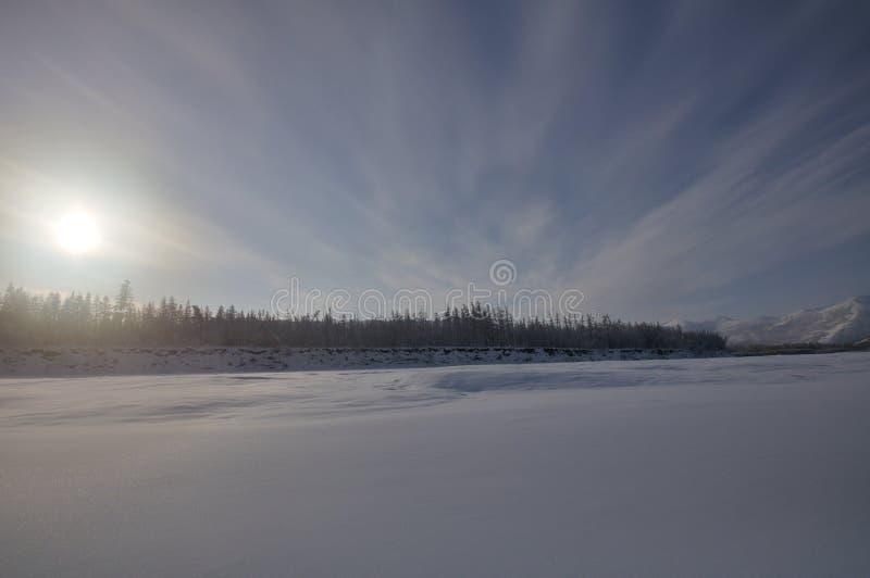 Fiume congelato fotografia stock