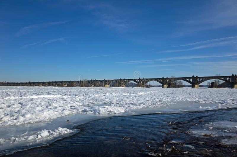 Fiume congelato di Susquehann immagini stock libere da diritti