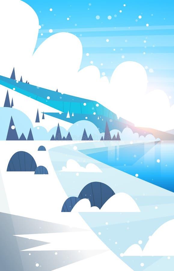 Fiume congelato paesaggio di inverno e neve di caduta delle colline della montagna illustrazione di stock