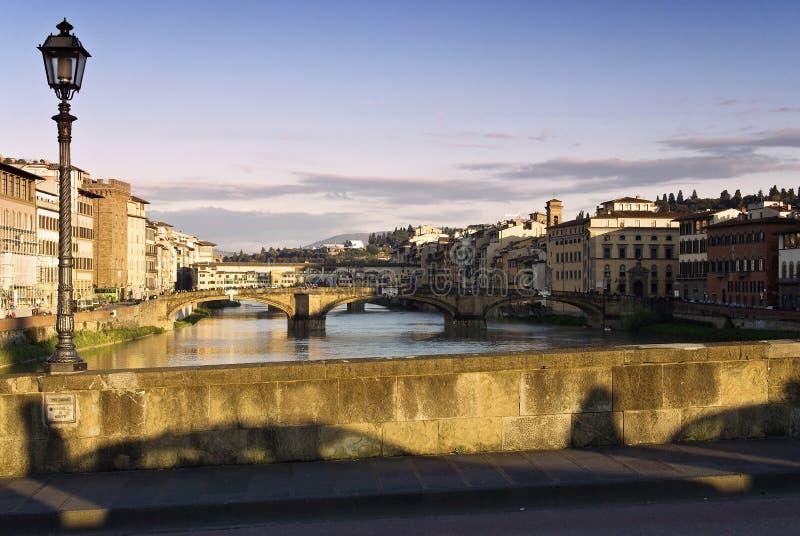 Fiume del Arno e di Firenze fotografia stock