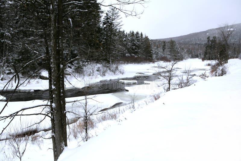 Fiume del Lake Placid in inverno fotografie stock