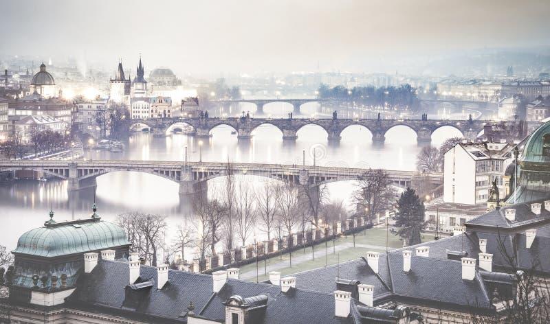 Fiume della Moldava e di Praga con Charles Bridge dalla collina di Letna fotografia stock libera da diritti