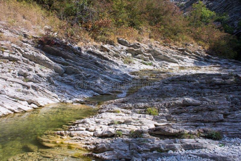Fiume della montagna e cascate naturali Cascate sul fiume Pshada, Gelendzhik, Russia immagini stock