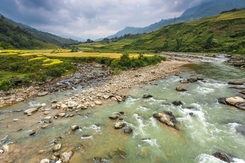 Fiume della valle di Sapa fotografia stock