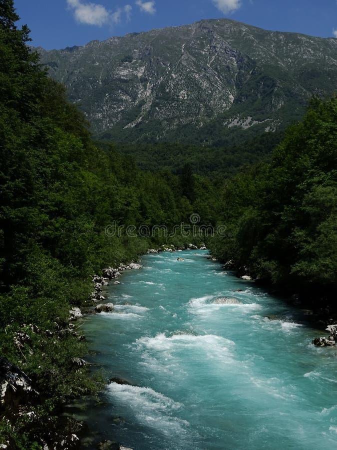 Fiume della valle di Soca, Slovenia fotografia stock libera da diritti