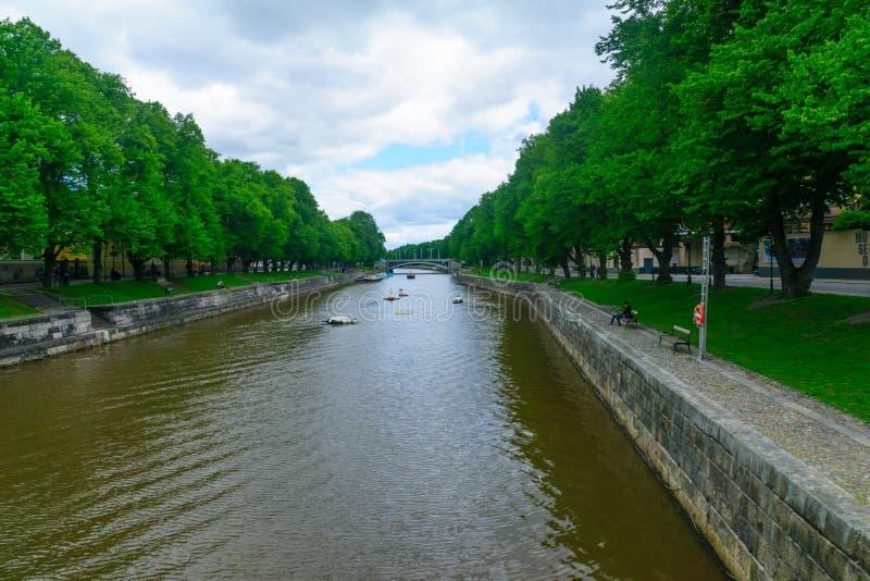 Fiume di aura, a Turku immagini stock