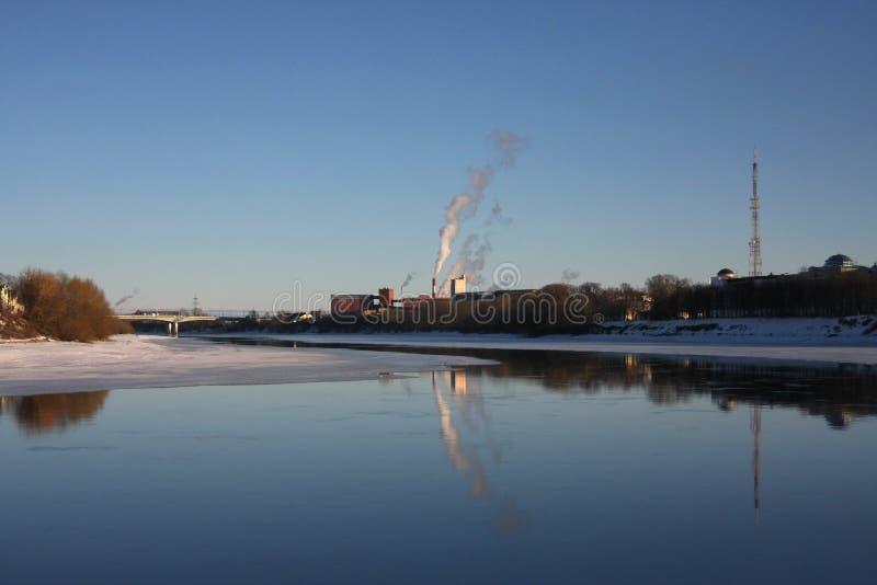 Fiume di fusione Volga del ghiaccio fotografia stock libera da diritti