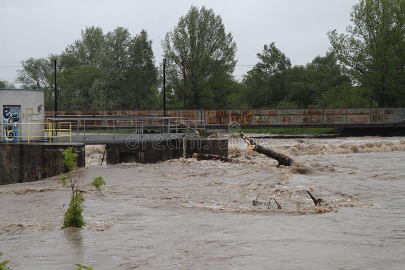 Fiume di inondazione fotografie stock libere da diritti