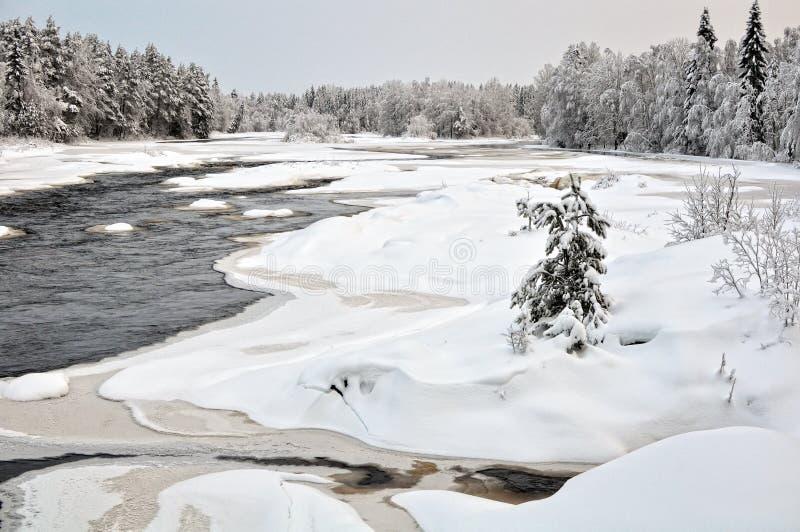 Fiume di Kiiminkijoki nel Ostrobothnia nordico fotografia stock