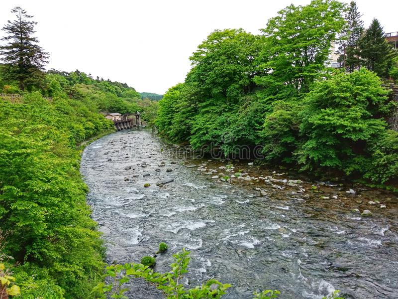 Fiume di Kinugawa, Nikko, Giappone fotografia stock
