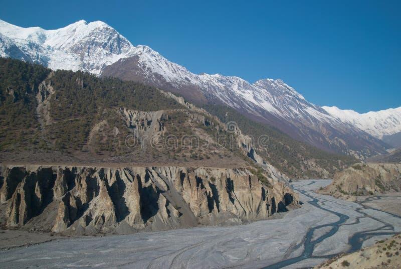 Fiume di Marsyangdi, Tibet. fotografia stock libera da diritti