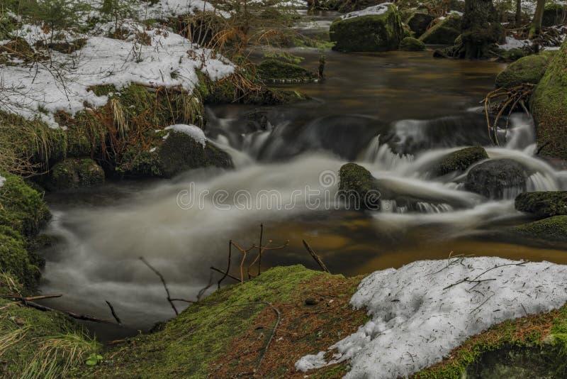 Fiume di Mensi Vltavice nel giorno di inverno della neve fotografia stock libera da diritti