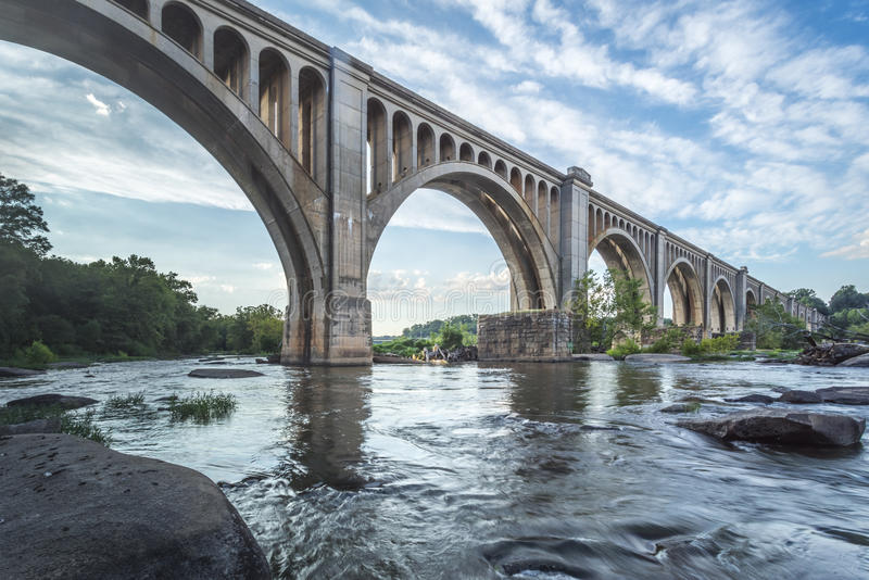 Fiume di Richmond Railroad Bridge Over James fotografia stock libera da diritti