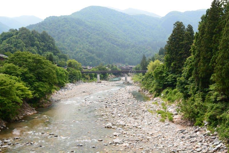 Fiume di Sho Shirakawa-vada Prefettura di Gifu Chubu japan immagini stock