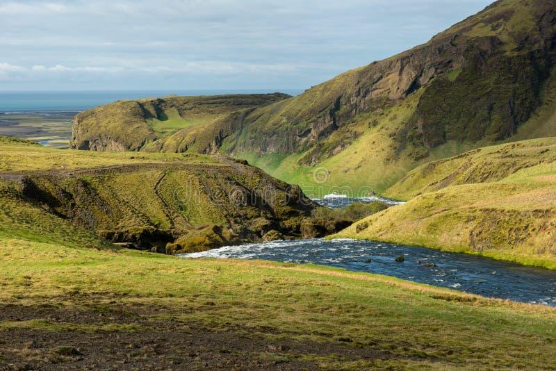 Fiume di Skogar in Islanda del sud fotografia stock libera da diritti