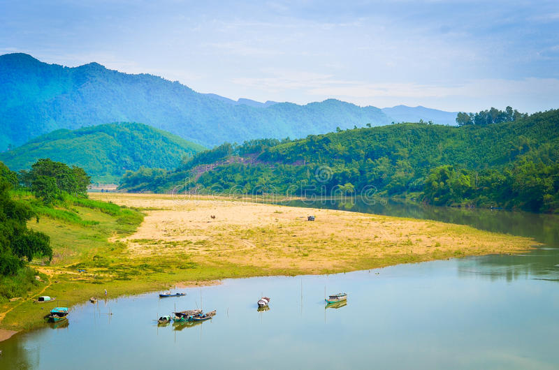 Fiume di Thu Bon al Vietnam fotografia stock libera da diritti