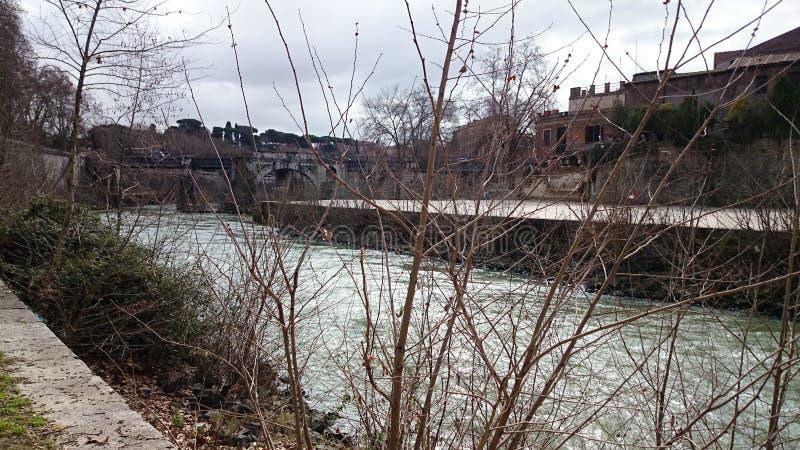 Fiume di Tiber a Roma immagine stock libera da diritti