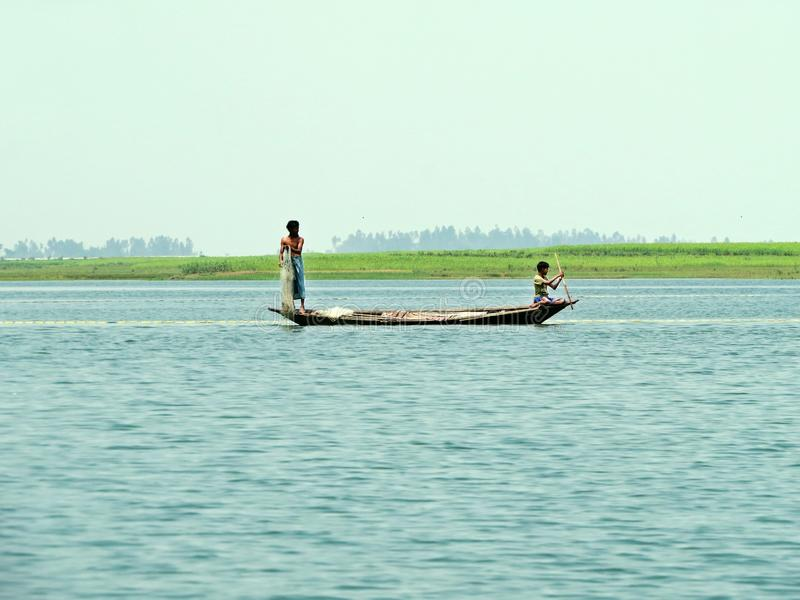 Fiume di Yamuna, il Brahmaputra, Bogra, Bangladesh immagini stock libere da diritti