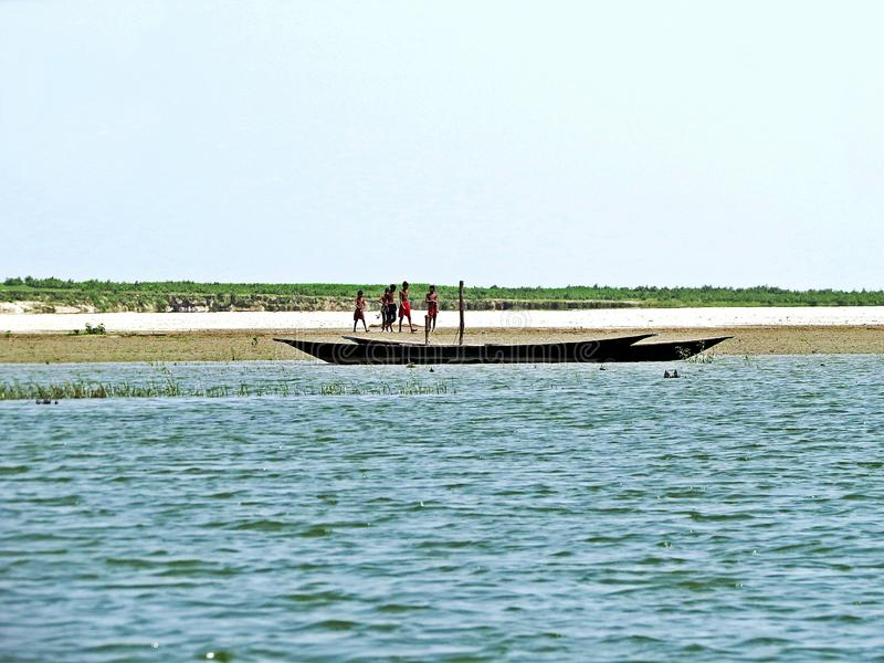 Fiume di Yamuna, il Brahmaputra, Bogra, Bangladesh immagini stock