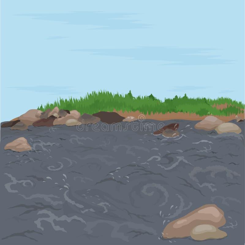 Fiume e betulle veloci paesaggio illustrazione di stock