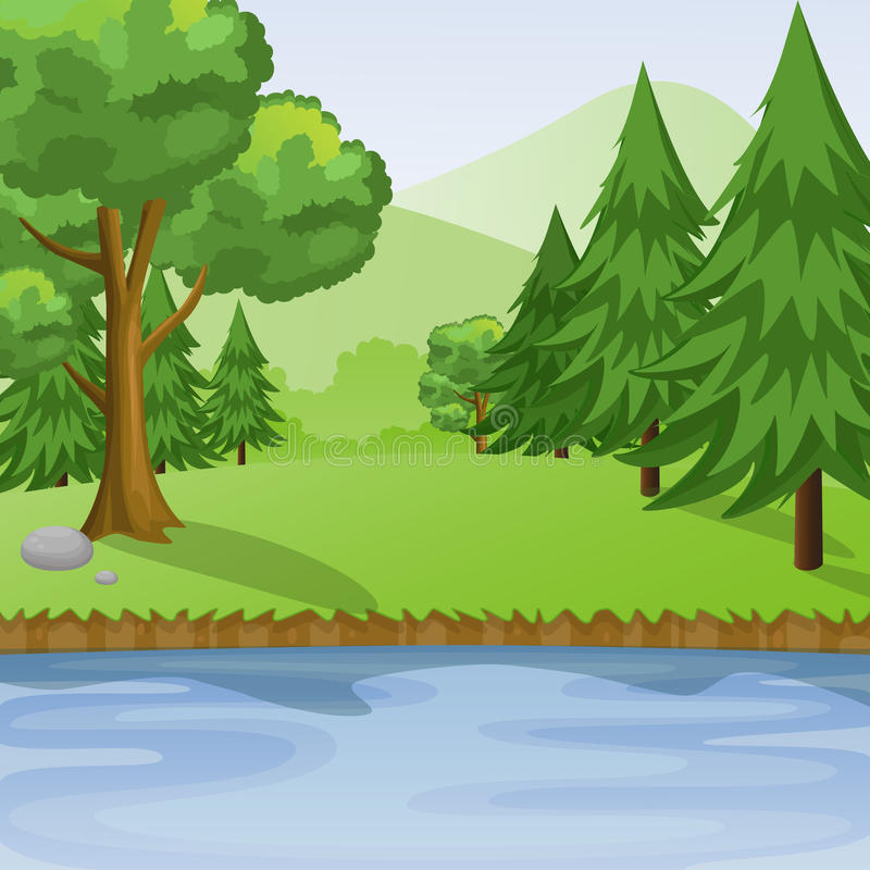 Fiume e Forest With Mountains Background View royalty illustrazione gratis