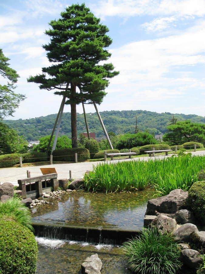 Fiume e panorama del giardino di Kenrokuen piccolo fotografia stock libera da diritti