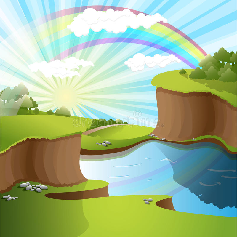 Fiume e Rainbow royalty illustrazione gratis
