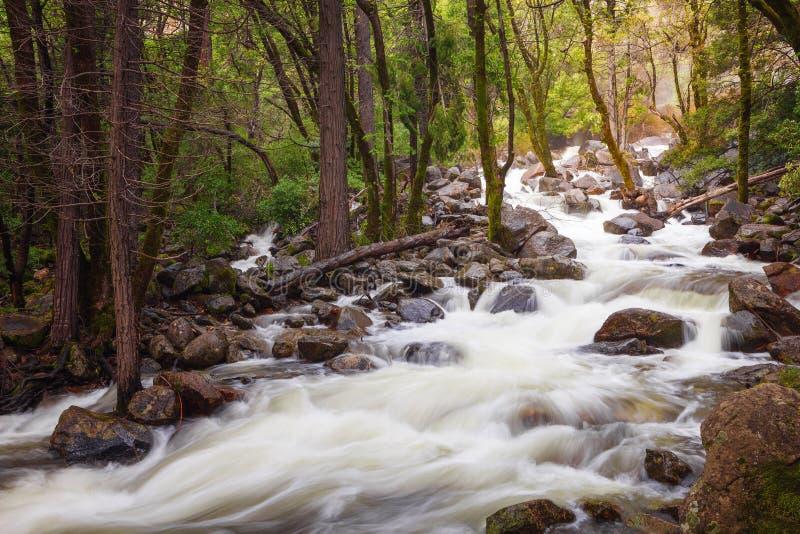 Fiume formato dalla cascata Bridal Veil, Yosemite National Park, California fotografie stock libere da diritti