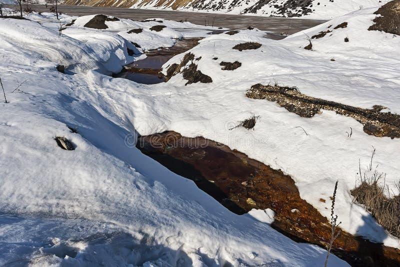 Fiume inquinante sotto neve immagine stock