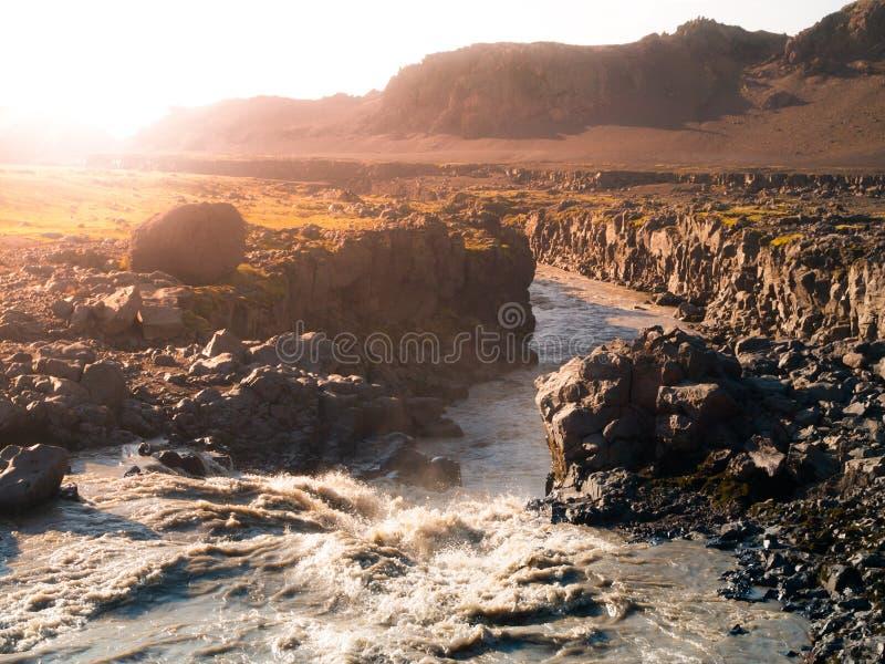 Fiume islandese selvaggio in pieno di acqua fangosa fotografia stock libera da diritti