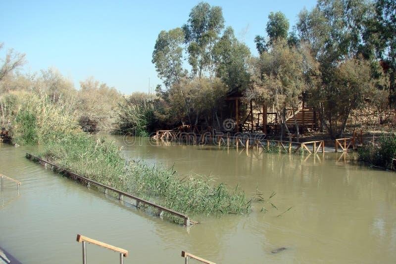 Fiume Jordan Dead Sea l'israele Panorama e paesaggi dei luoghi santi, in cui Gesù ha insegnato alla gente contemporaneamente fotografia stock libera da diritti