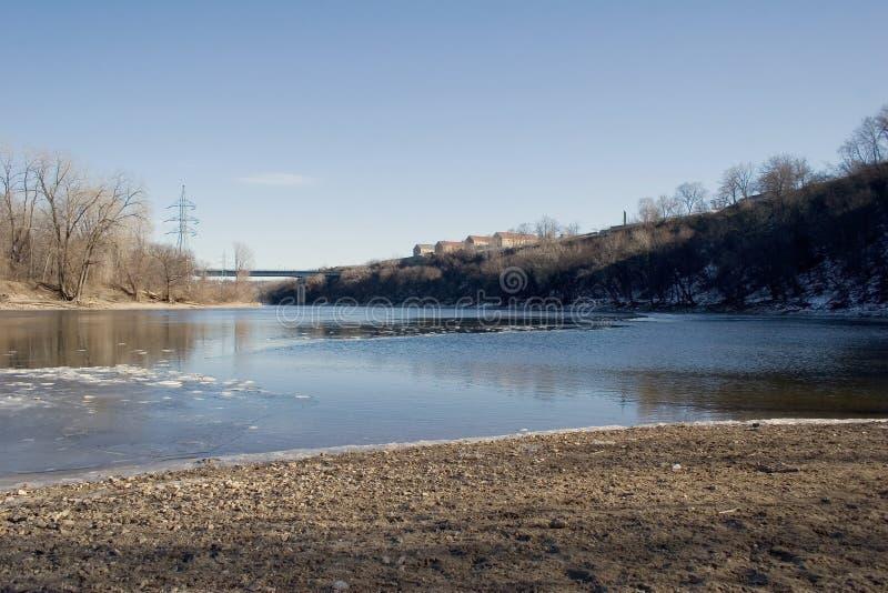 Fiume Mississippi alla fortificazione storica Snelling, Minneapolis, manganese fotografie stock