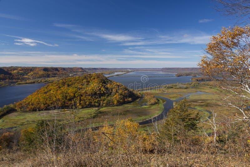 Fiume Mississippi in autunno fotografia stock