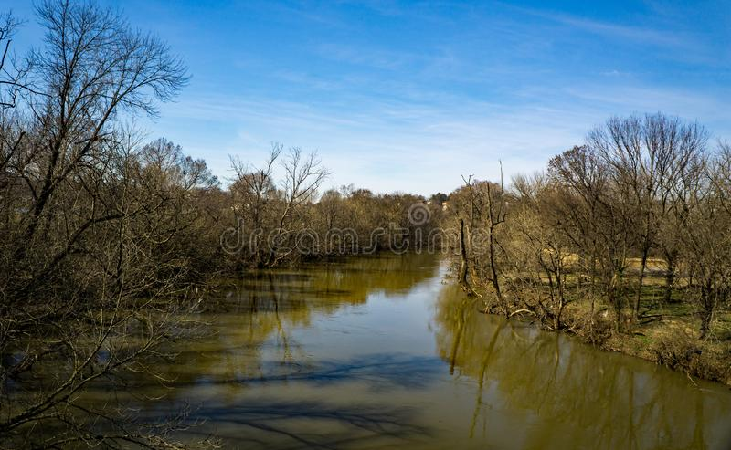 Fiume pacifico di Roanoke al livello di piena fotografia stock libera da diritti