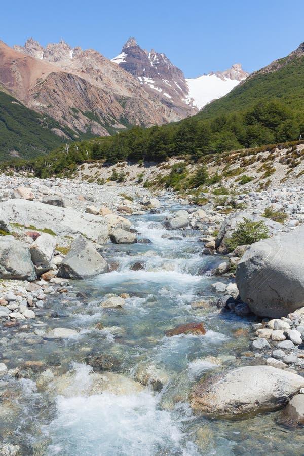 Fiume pulito costituito dalla fusione neve e del ghiaccio, Argentina fotografia stock