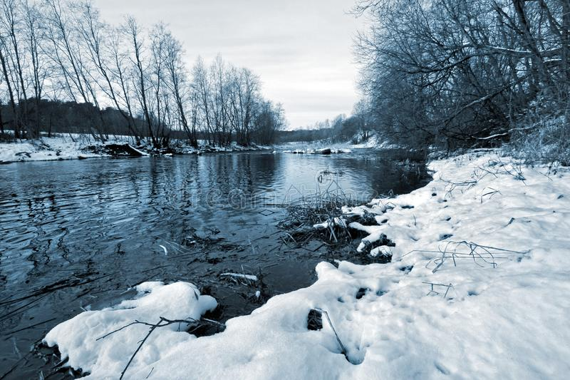 Fiume senza ghiaccio nell'inverno con neve sulla riva e sugli alberi crescenti fotografie stock