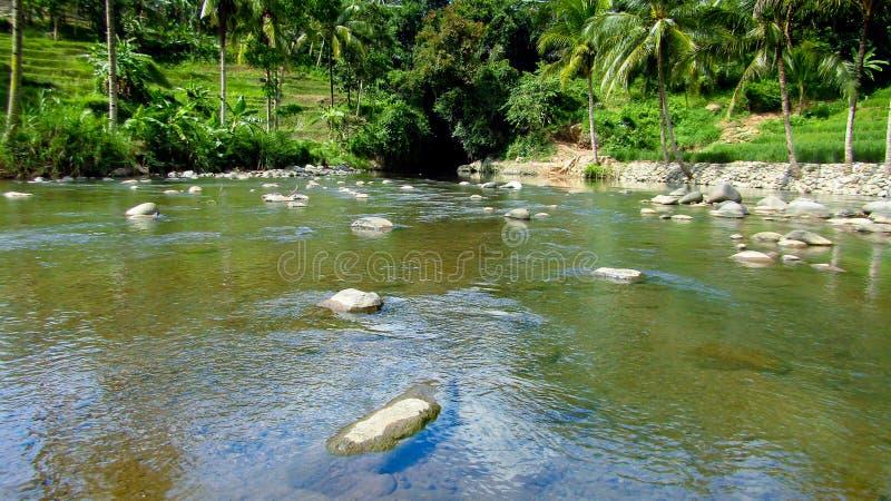Fiume stupefacente in Tasikmalaya, Java ad ovest, Indonesia fotografia stock libera da diritti