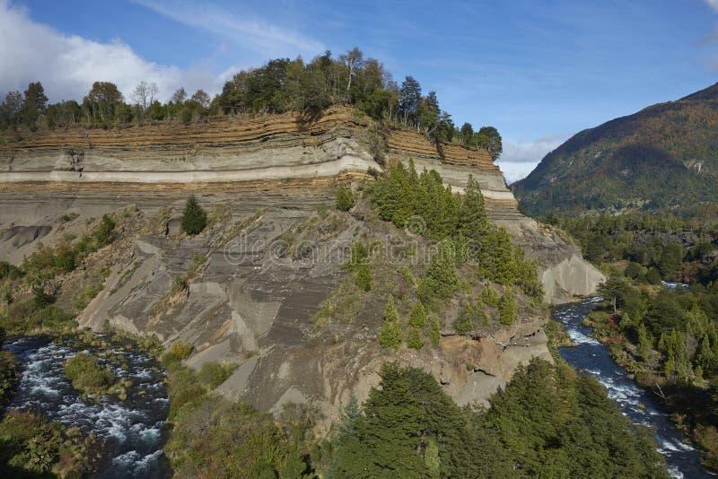 Fiume Truful-Truful nel parco nazionale di Conguillio, Cile del sud fotografia stock libera da diritti