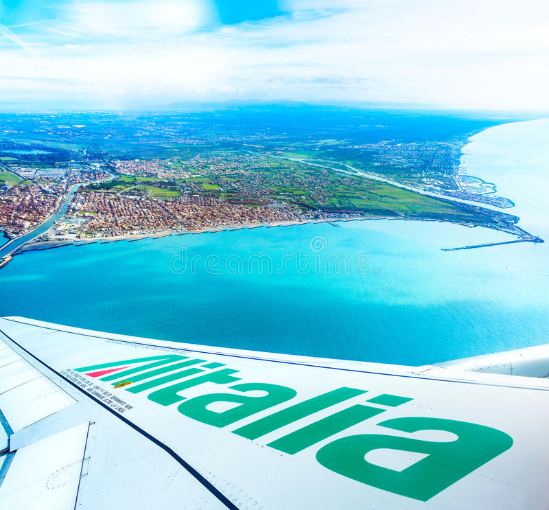 Fiumicino bay from the Alitalia aircraft stock images