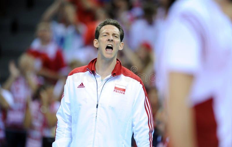 FIVB Poland Brasil Volleyball. CRACOW, POLAND - JUNE 20, 2015: FIBV World League Volleyball o/p Stephane Antiga polish coach royalty free stock photography