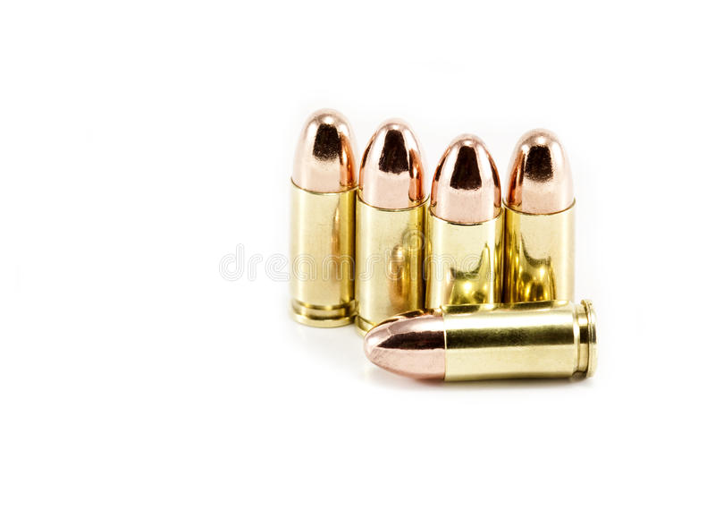 Five 9mm Bullets Royalty Free Stock Photo