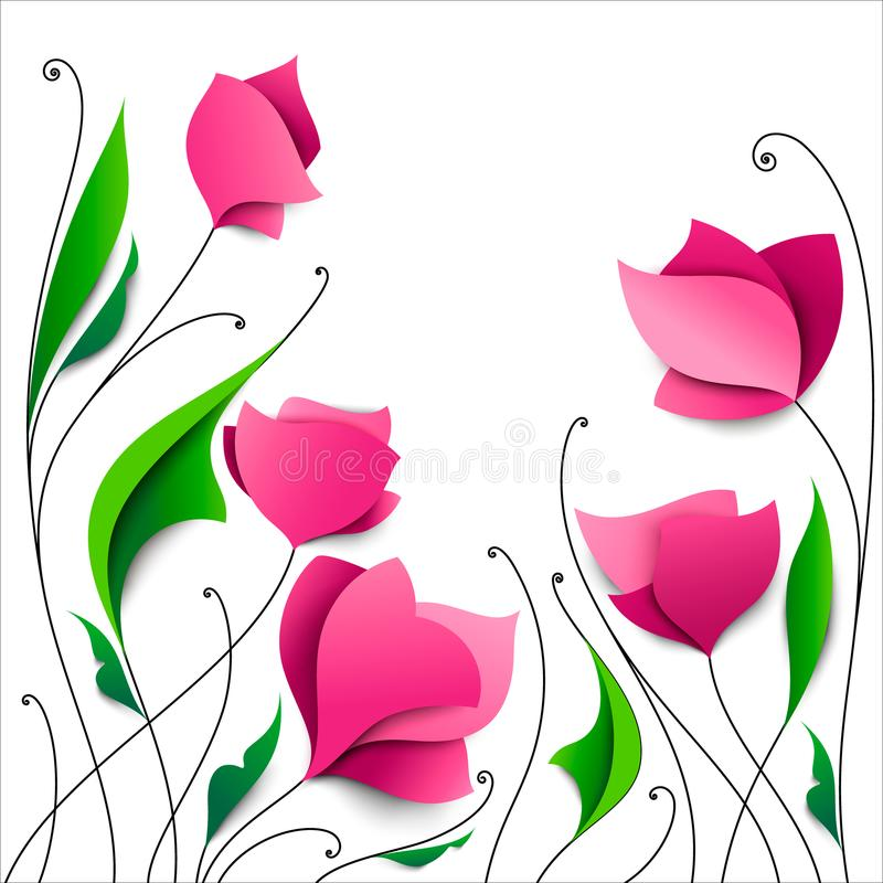 Five abstract pink paper flowers. Elegant floral background. Greeting cards. Valentine`s Day, Mother`s Day, wedding, birthday royalty free illustration