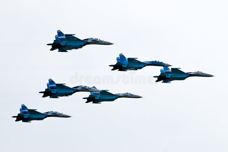 Five Airplanes SU-27 Stock Image