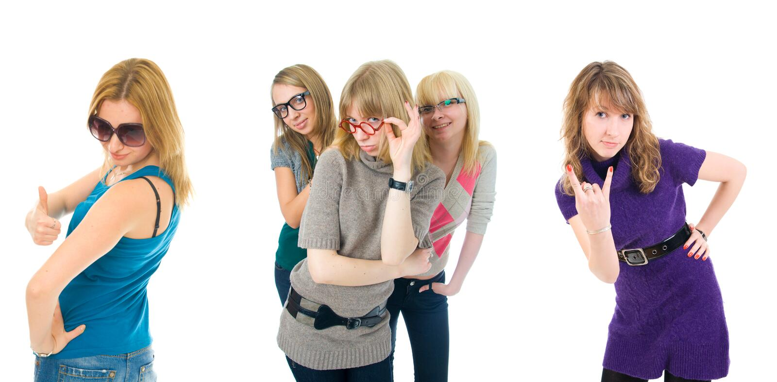 Five Attractive Girls Isolated On A White Royalty Free Stock Image