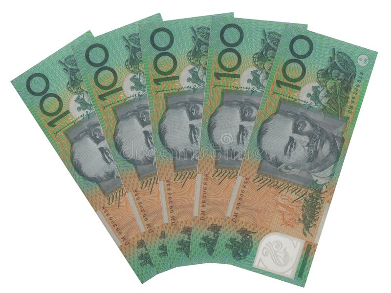 Five Australian 100 dollar notes. Group of five 100 Australian dollar notes isolated over white background royalty free stock photos